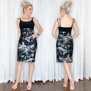 Joseph Ribkoff Black Silver Metallic Party Dress